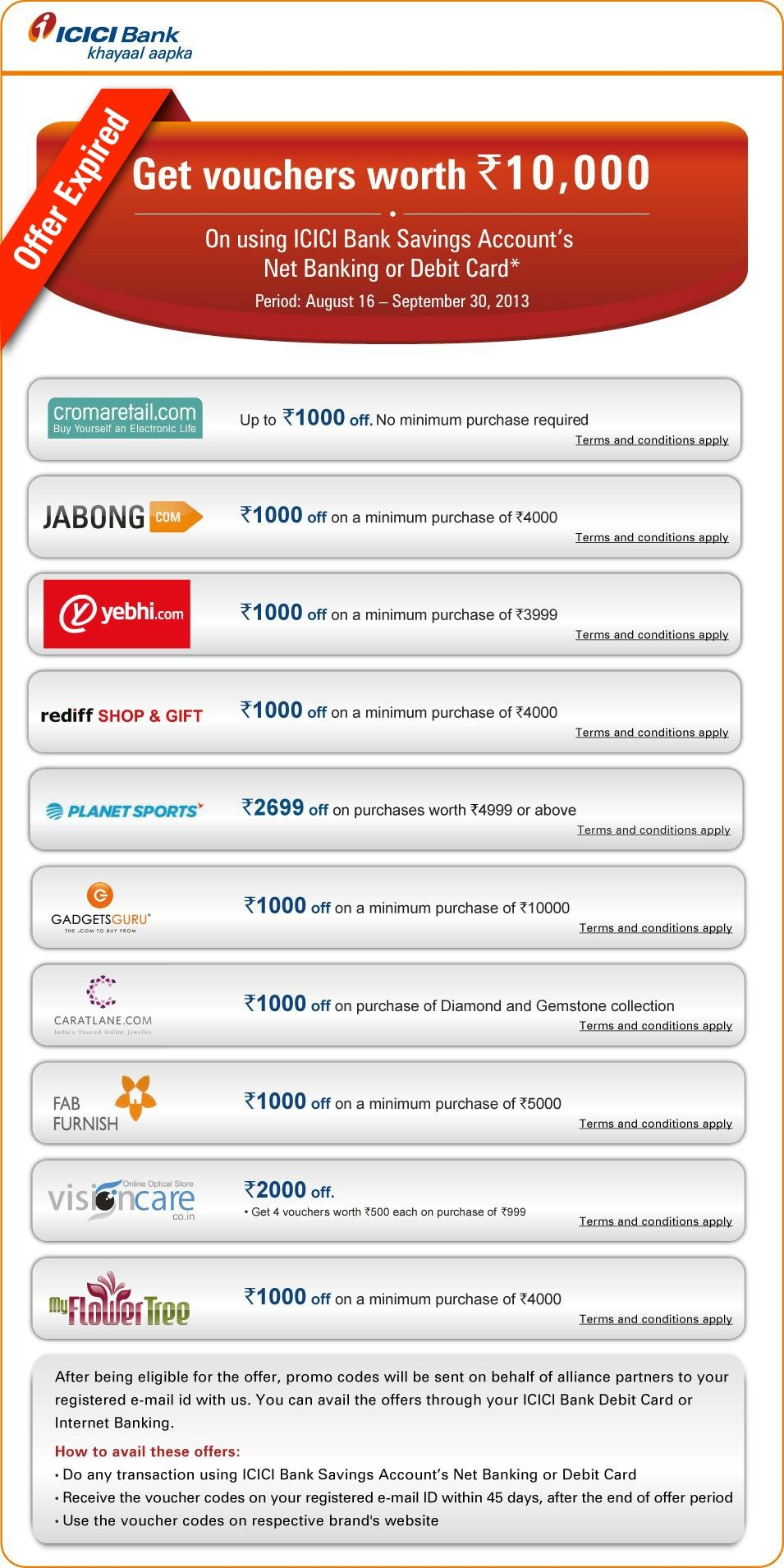 terms and conditions icici bank