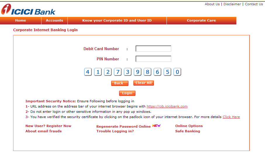 Login Using Debit Card