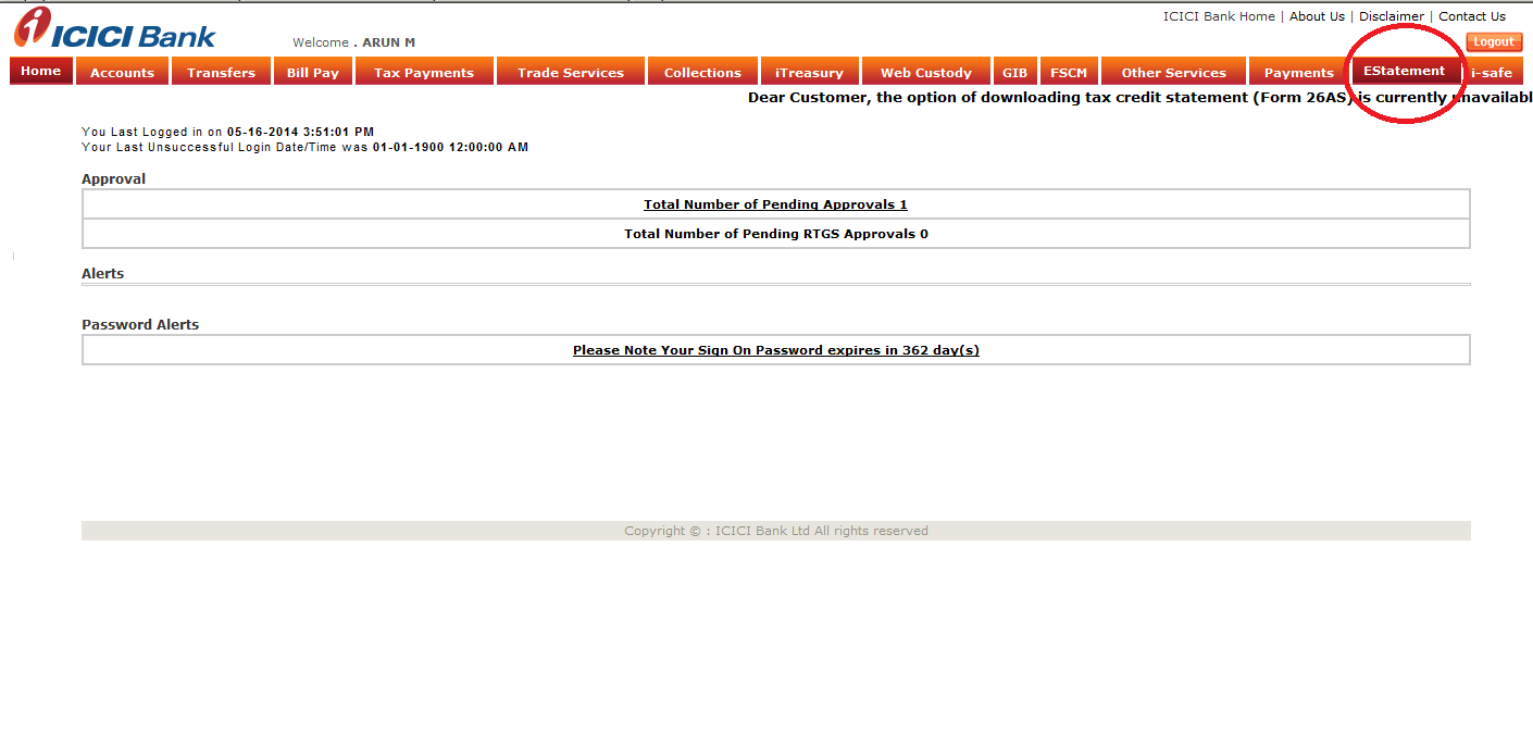 View E - Statement Demo - ICICI Bank