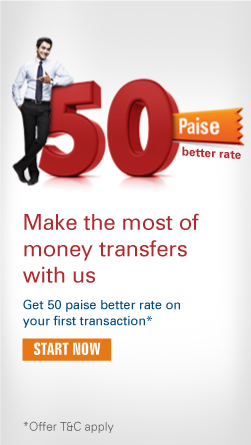 Get 50 paise better rate on your first transaction*