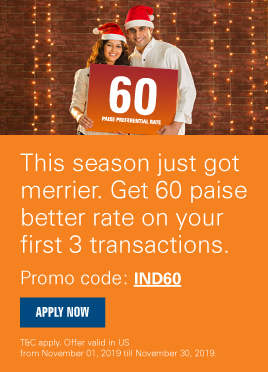 Start your new innings with a 60 paise better rate from USA