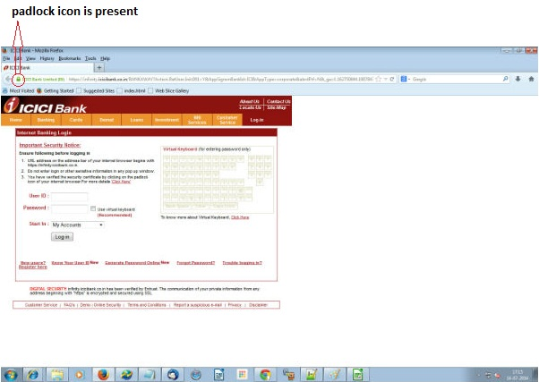 Icici Bank Ltd Browse Padlock