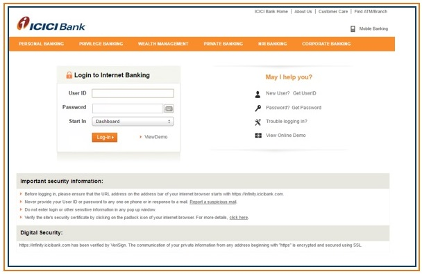 how to transfer icici bank account to another branch online