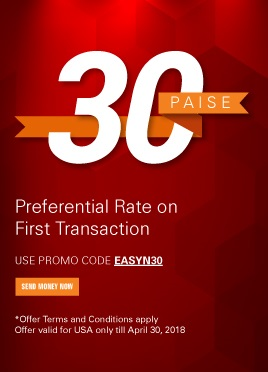 Make the most of money transfers with us Get 30 paise better rate on your first transaction*