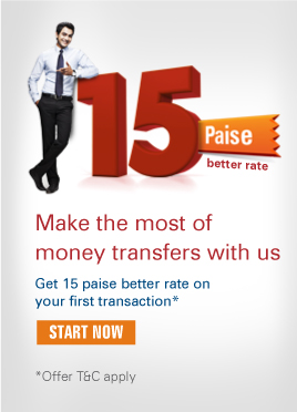 Make the most of money transfers with us Get 15 paise better rate on your first transaction*