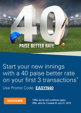 Start your new innings with a 40 paise better rate from Canada