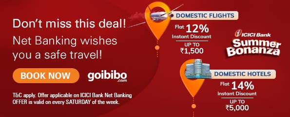 Flat 10% instant discount on Goibibo
