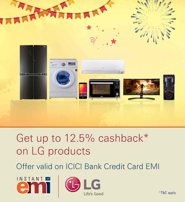 Get 12.5% cashback on LG products