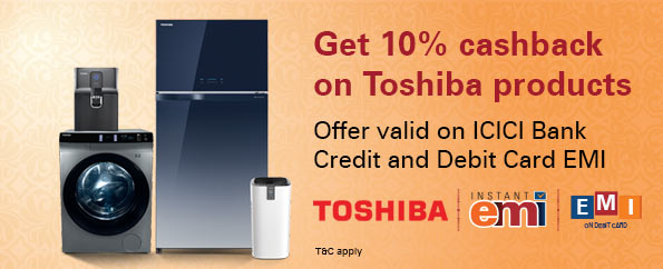 Get 10% cashback on Toshiba products