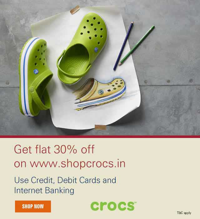 85e3e724f5f1c Crocs Offer - Flat 30% Off up to March 2018 - ICICI Bank