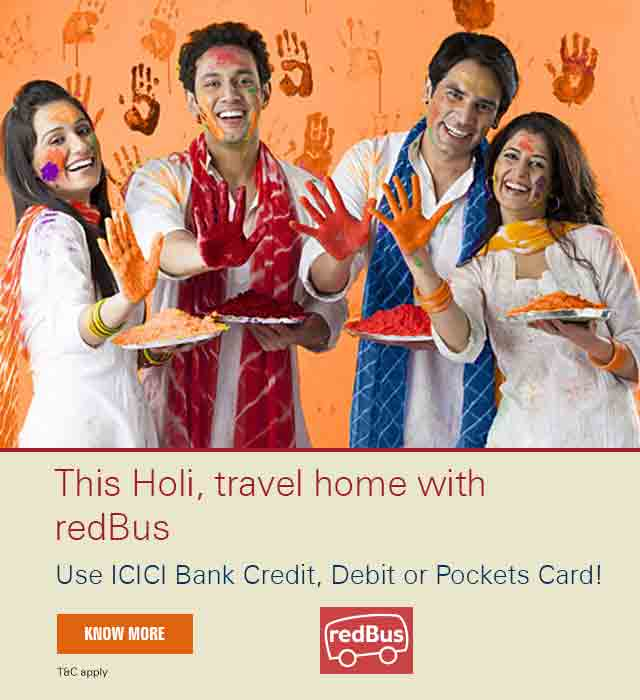 Holi offer - Get 10% discount on RedBus