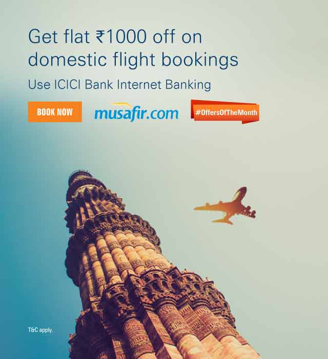 Musafir - Get Rs.1000 off on Domestic Flight Booking