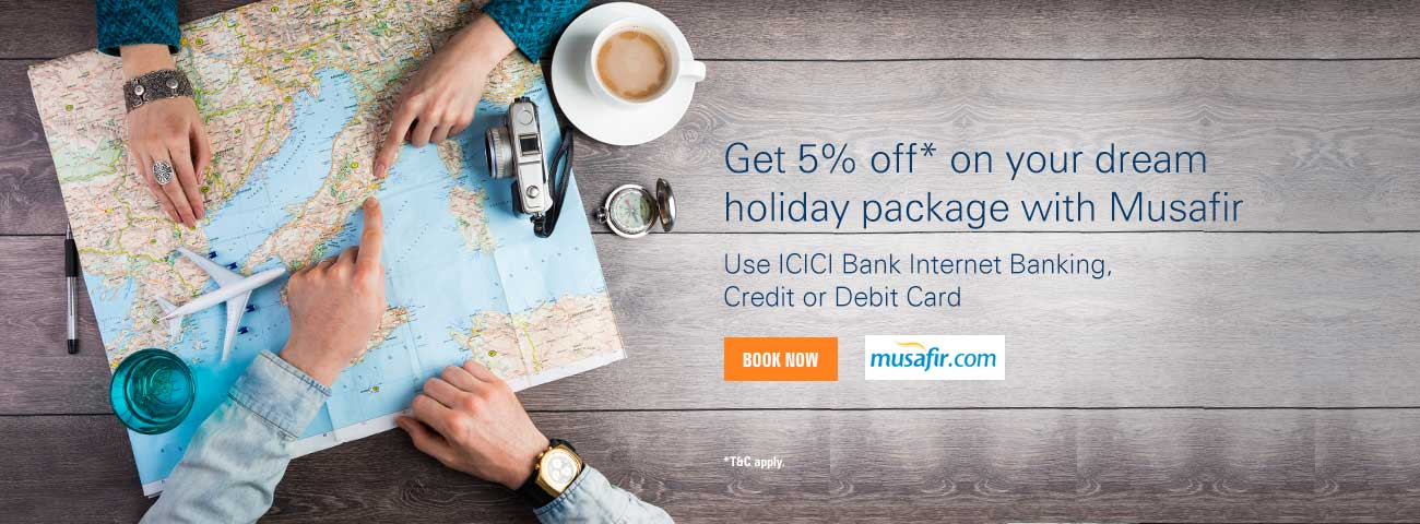 Musafir - Get 5% off* on holiday package offer