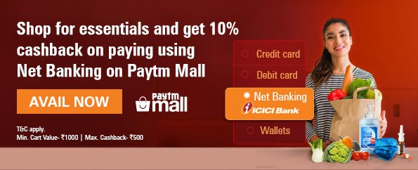 Get up to 10% cashback at Paytm mall