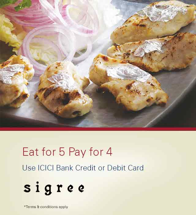 Sigree Global Grill Coupon Offer - Buy 4 Buffet and get 1 extra