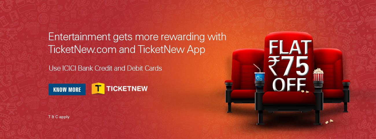 Get flat Rs. 75 off at TicketNew.com