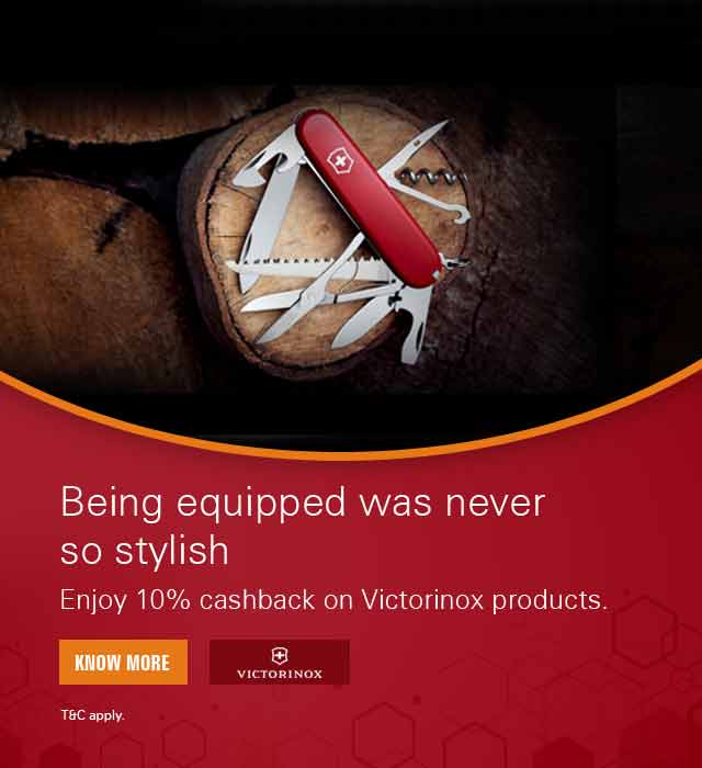 Get 10% cashback on Victorinox Products