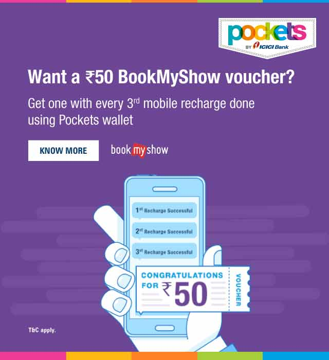 Get Rs.50 BookMyShow voucher
