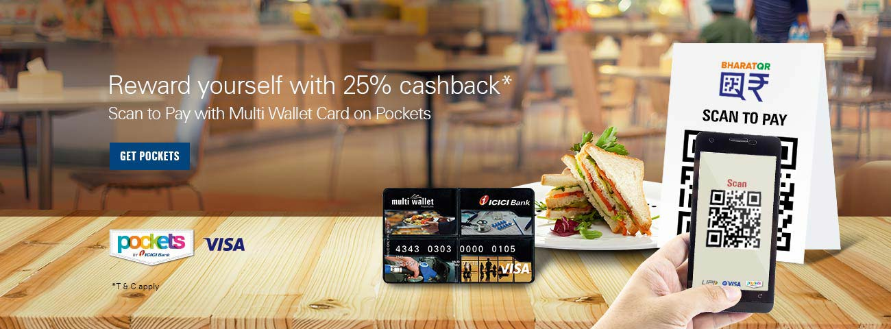 Get 25% Cashback using Scan to Pay on Pockets app