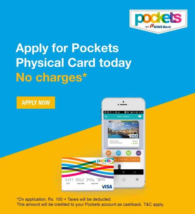 ICICI Bank | Pockets Physical Card Offer