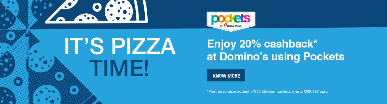 20% cashback at Domino's