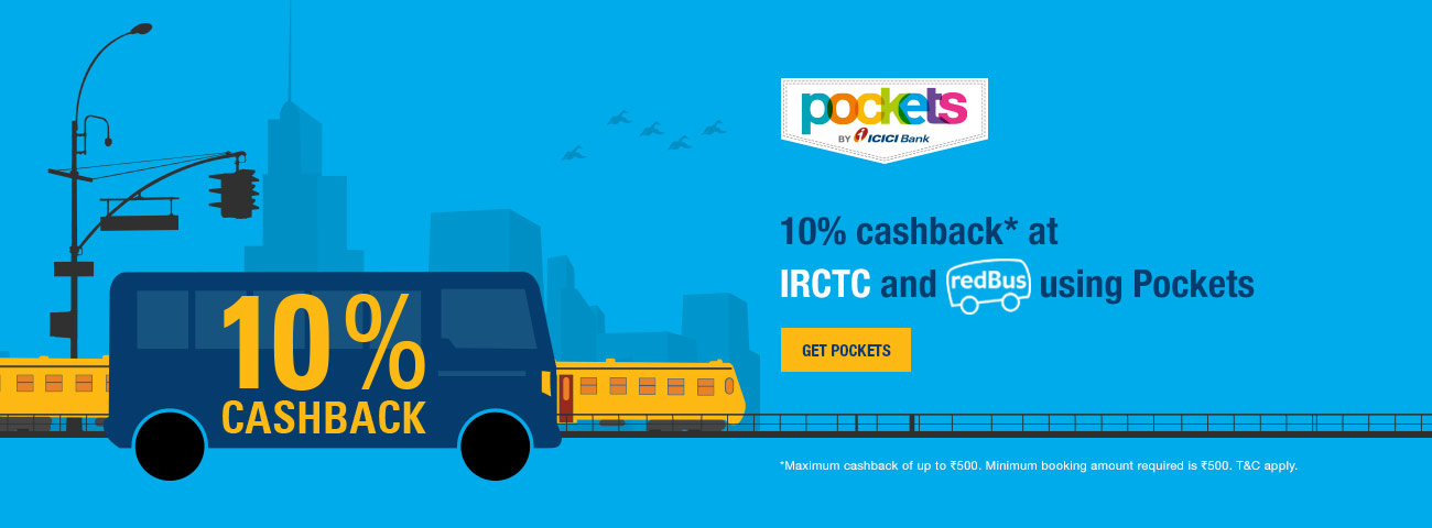 10% cashback on train and bus tickets