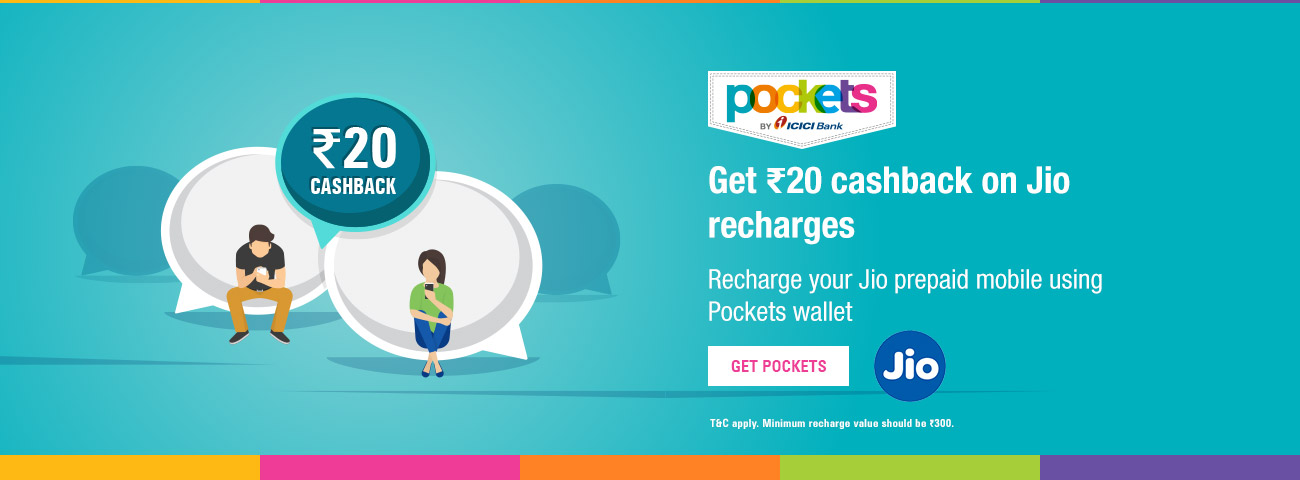ICICI Bank | JIO Mobile Recharge with Pockets - Get Rs  20