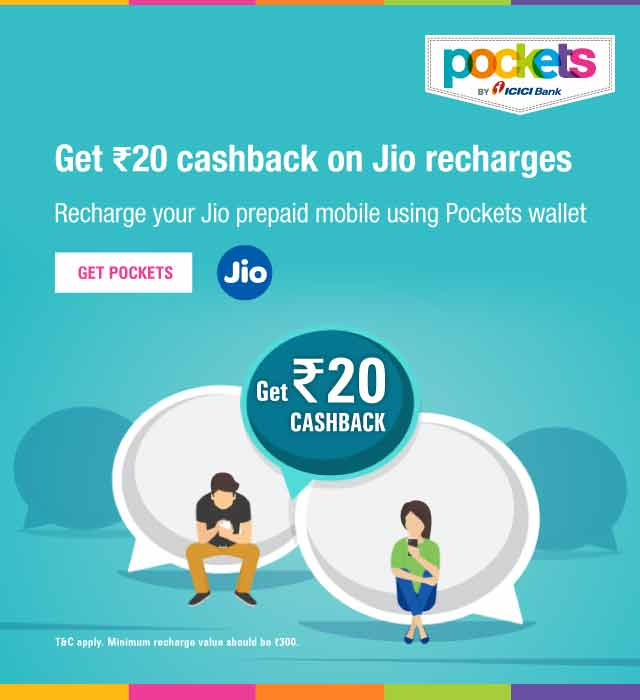 JIO Mobile Recharge with Pockets - Get Rs  20 cashback