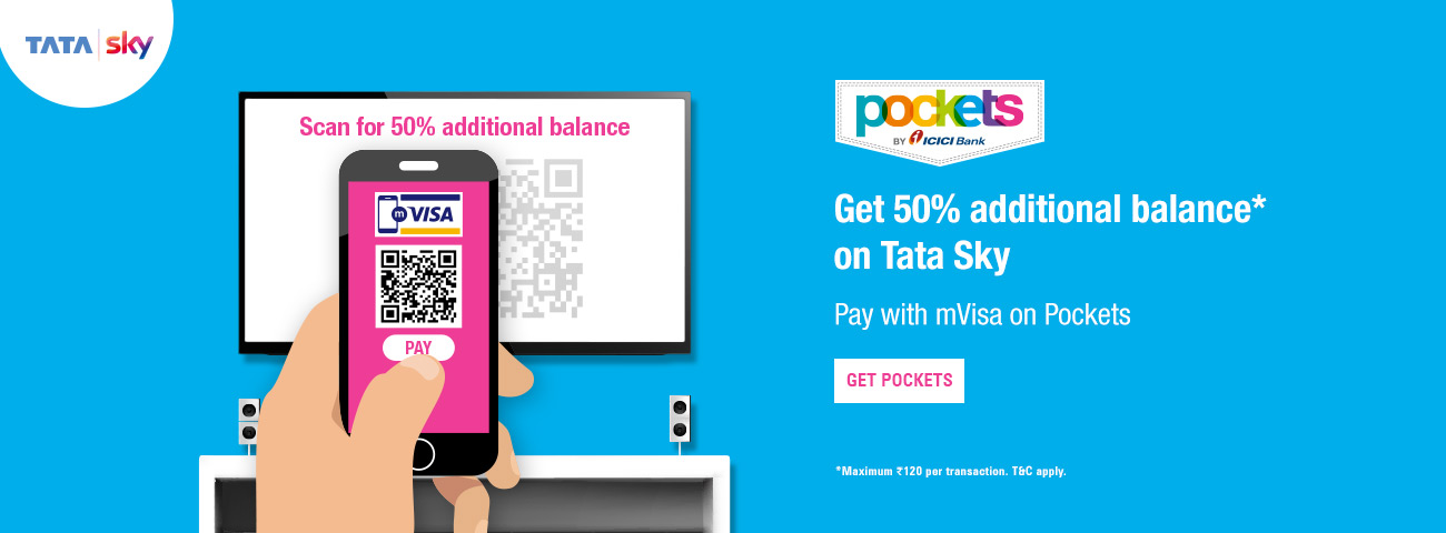50% extra recharge on Tata Sky with mVisa