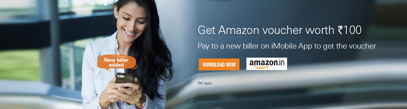 Free Rs. 100 Amazon Voucher on on adding New Biller - iMobile app