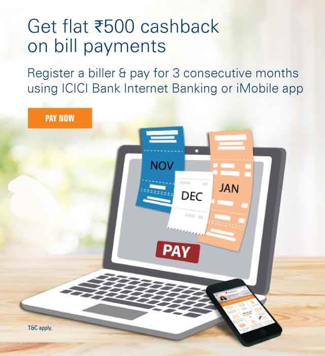 Bill Payment Rs. 500 Cashback Offer