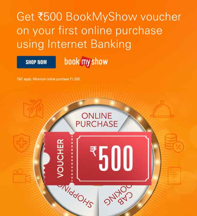 BookMyShow Offer - Get Rs 500 BookMyShow voucher on your first purchase using Internet Banking