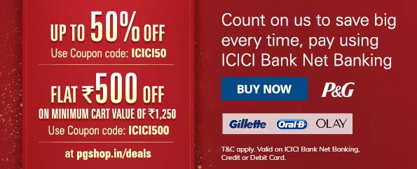 Get up to 50% instant discount at P&G Shop