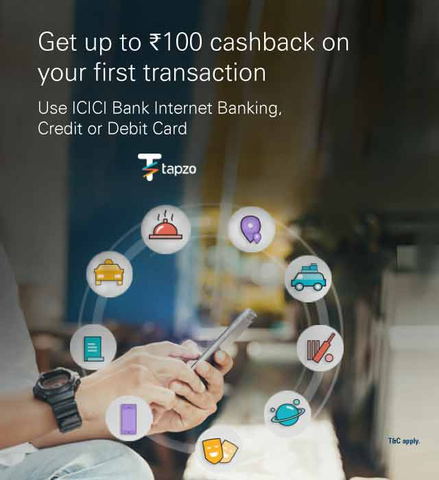 Tapzo offer - Get Rs.100 cashback