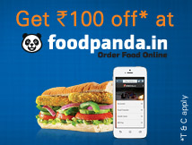 Rs. 100* off at Foodpanda.in