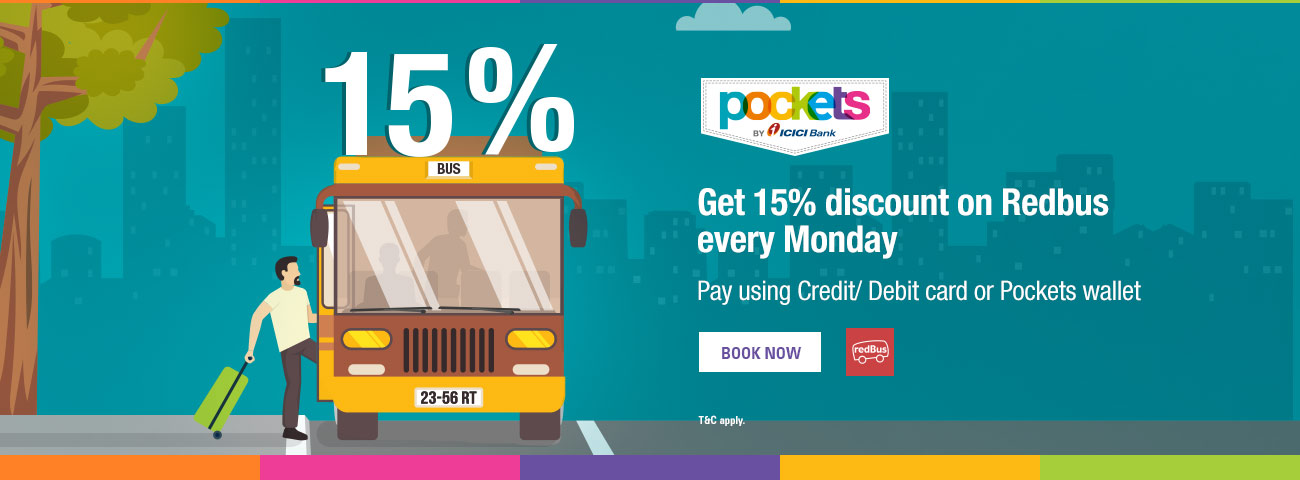 RedBus Offer - 15% discount on bus tickets!