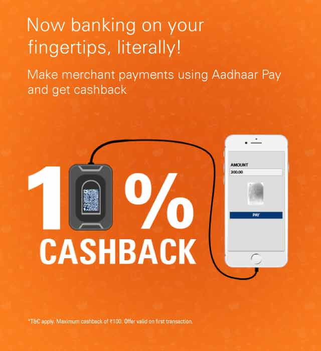 Get 15% cashback on Aadhaar Pay