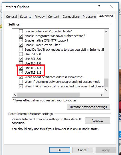 Enabling TLS 1 2 and TLS 1 2