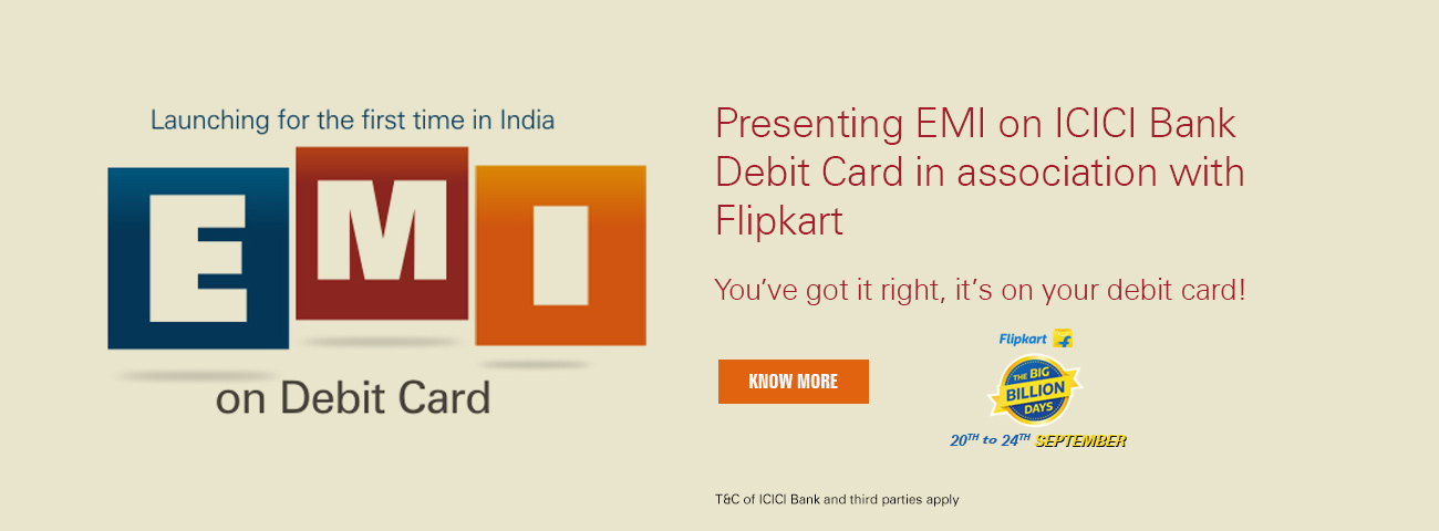 EMI on ICICI Bank Debit Card