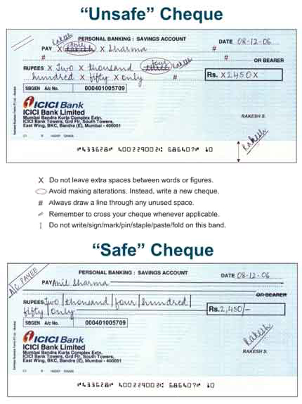 Cash safety measures icici bank tips to fill a cheque leaf correctly ccuart Choice Image